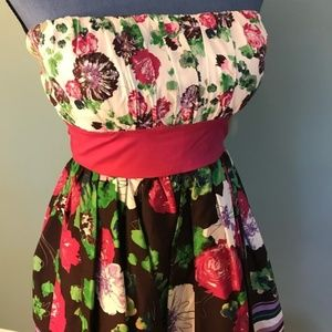 Candies Floral Strapless Dress